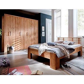 Pharao24 Massivholz Möbel Set für Schlafzimmer Wildeiche geölt ...