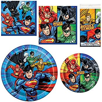 Unique Justice League Party Bundle | Luncheon & Beverage Napkins, Dinner & Dessert Plates, Table Cover | Great for Action/Superhero/Comics Birthday Themed ...