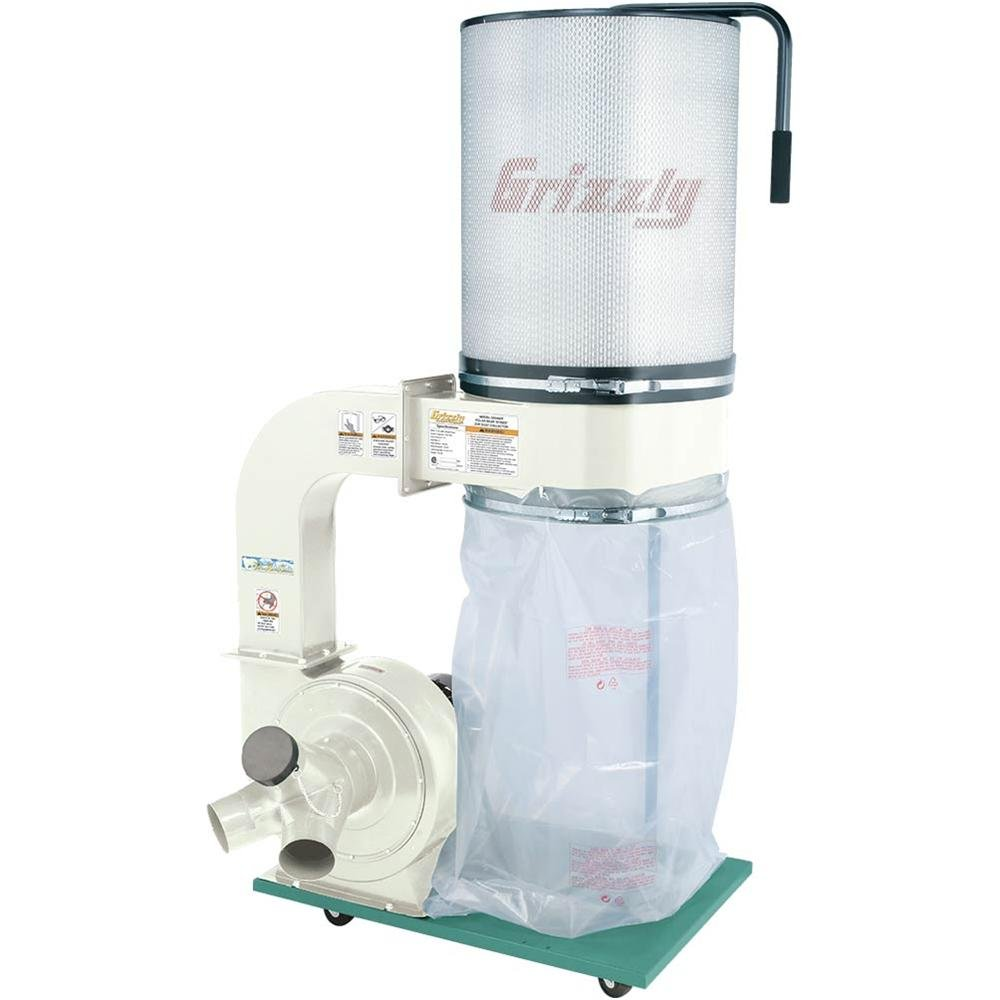 Grizzly G0548ZP 2 HP Canister Dust Collector with Aluminum Impeller - Polar Bear Series