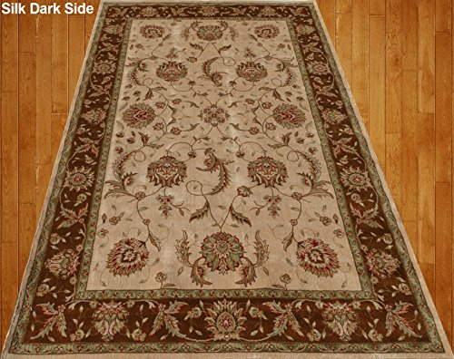 Home Must Haves Beige Brown Green Red Orange Traditional Persian Floral Faux Silk Rug Carpet, ((3' x 5') Feet