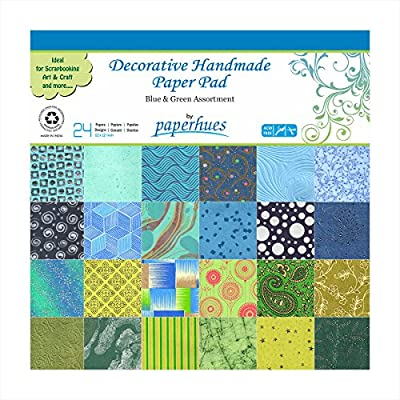 "Paperhues Blue-Green Winter Collection 12x12"" Pad, 24 Sheets. Decorative Specialty Handmade Origami Papers for Gift Wrap, Christmas Cards, Scrapbooking, Decor, Art and Craft Projects."