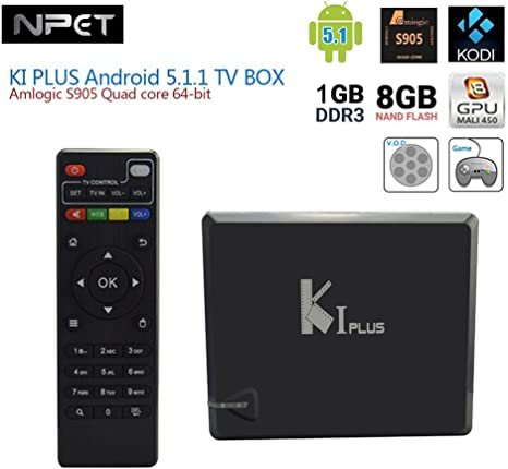 NPET Ki Plus S905 KODI XBMC Quad Core Android 5.1 TV Box Smart Media WiFi 8 G 4 K integrado para entretenimiento de electrodoméstico: Amazon.es: Electrónica