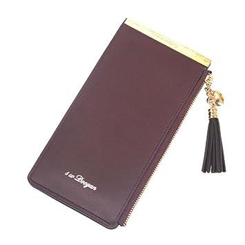 zycShang Bolso de embrague de la cartera de la posición de la tarjeta de la cremallera sólida de la cremallera de las mujeres de la manera (café): ...