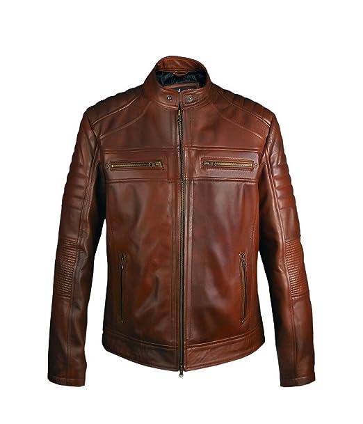 Leatherly Chaqueta de Hombre Cafe Racer marrón Chaqueta de Cuero: Amazon.es: Ropa y accesorios
