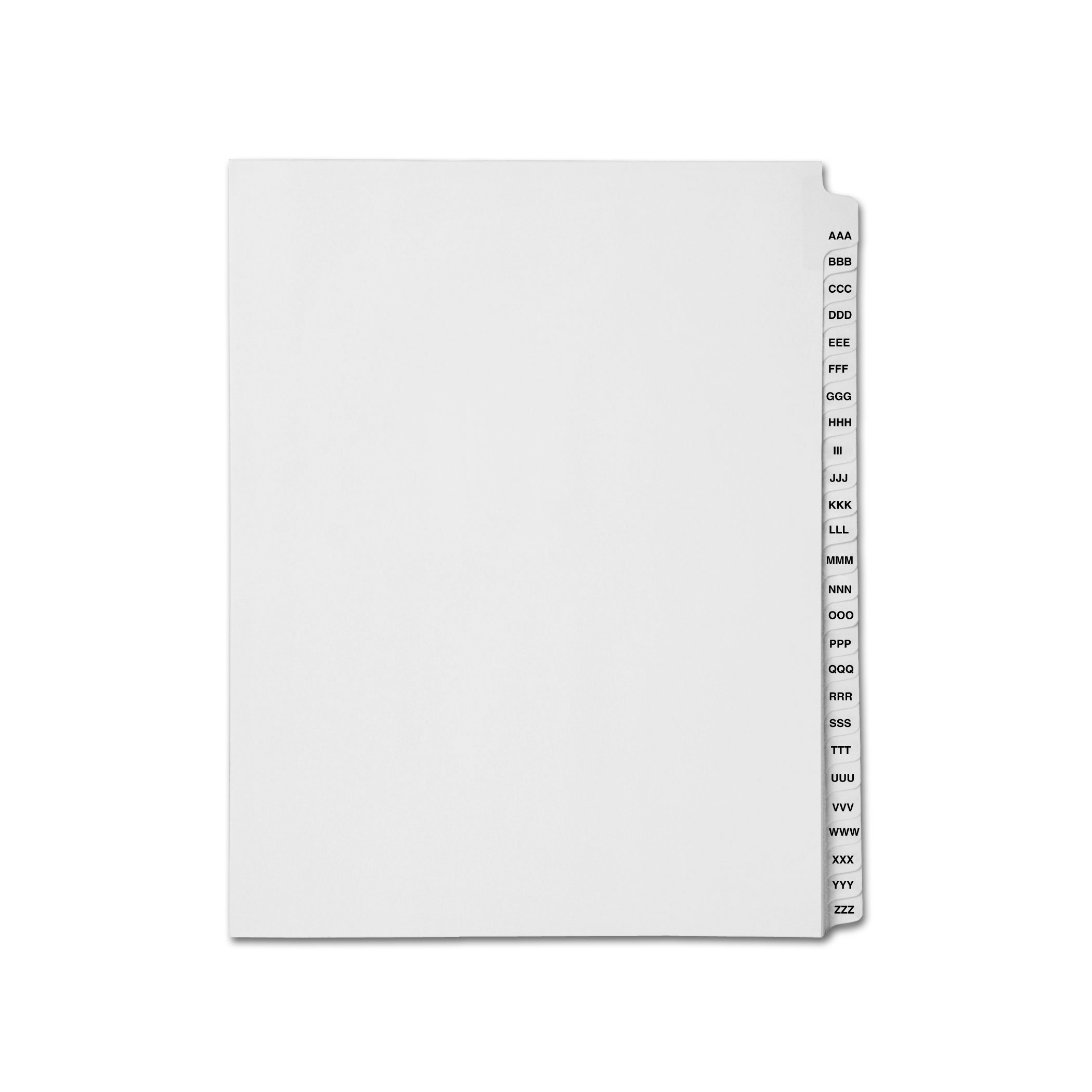 AMZfiling Collated Legal Index Tab Dividers, Compatible with Avery- Alphabet AAA-ZZZ, Letter Size, White, Side Tabs (26 Sheets/pkg)