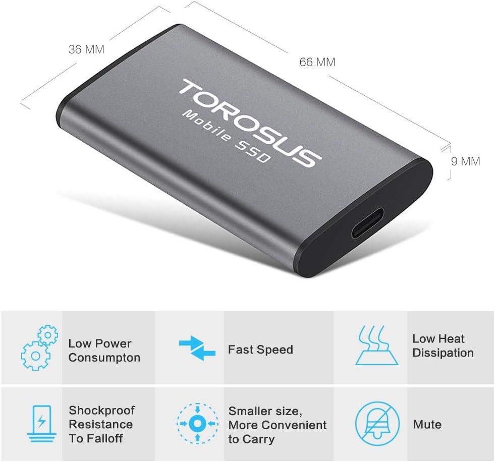 TOROSUS 120gb 250gb 500gb External SSD USB 3.0 3.1 Portable Solid State Drive TM2-500GB
