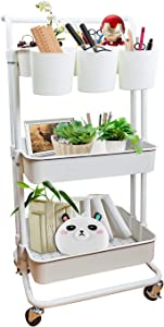 GORIFEI 3-Tier Rolling Storage Cart Multifunction Heavy Duty Rolling Utility Cart with Hanging Cup Practical Handle Lockable Wheels Trolley Organizer Cart for Kitchen Office Bathroom Laundry Room
