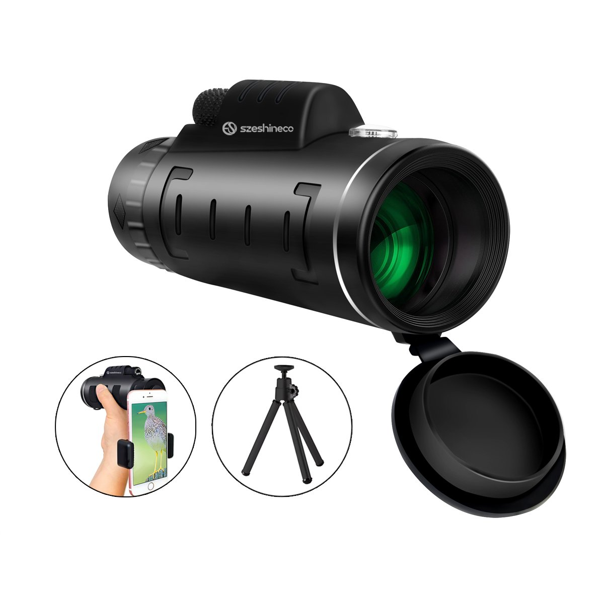 12x50 Monocular Telescopes, Szeshineco Birding Monocular Scopes, BAK4 Prism Waterproof Monoculars for Hunting,Hiking,Camping,Travel,Concert and More, with Steady Tripod and Phone Adapter
