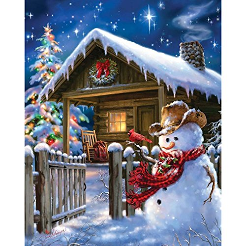 Souarts DIY Digital Oil Painting Paint By Number Kit Christmas Snowman 16x20 Inch