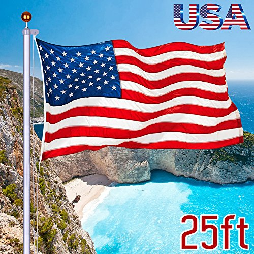 I-Choice 25 ft Outdoor Sectional Flag pole Kit Aluminum Alloy Flagpole with 3'x5' Nylon USA Flag & Pole Gold Ball Heavy Duty Adjustable In-Ground Halyard Pole, Home Garden Yard Use