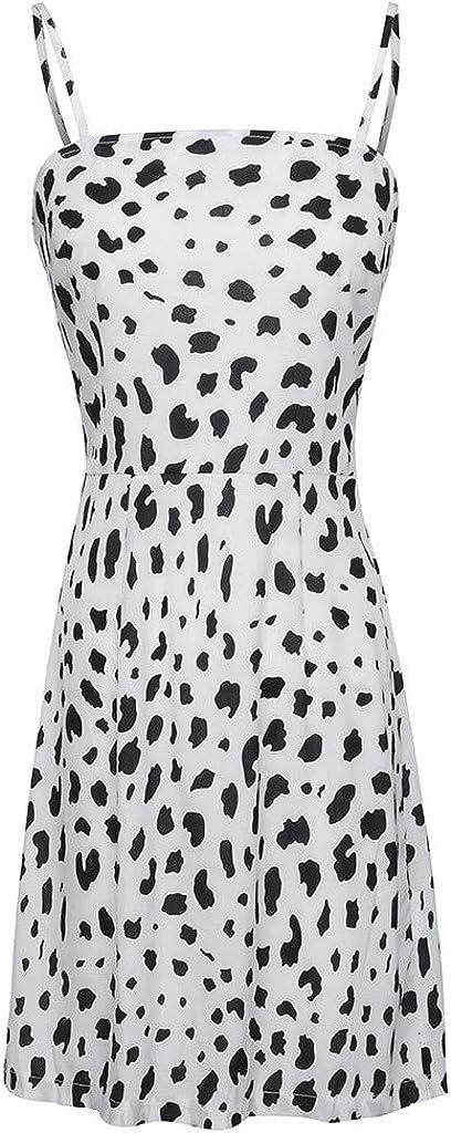 Veodhekai Womens Dress Camis Leopard Off Shoulder Dress Holiday Beach Cute Lace up Backless Mini Dress
