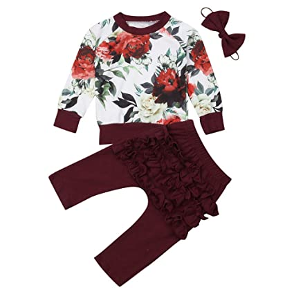 db3abe104822 Amazon.com  3pc Baby Girl Floral Tops Pants Headband Outfits Fall ...