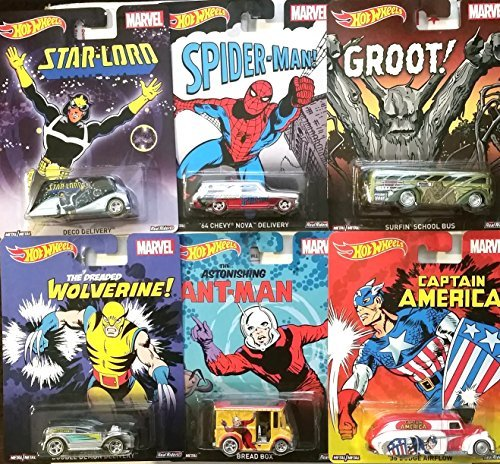 Marvel 2015 Hot Wheels Pop Culture Series 6 Cars Spider-Man, Wolverine, Ant Man, Guardians of the Galaxy, Groot