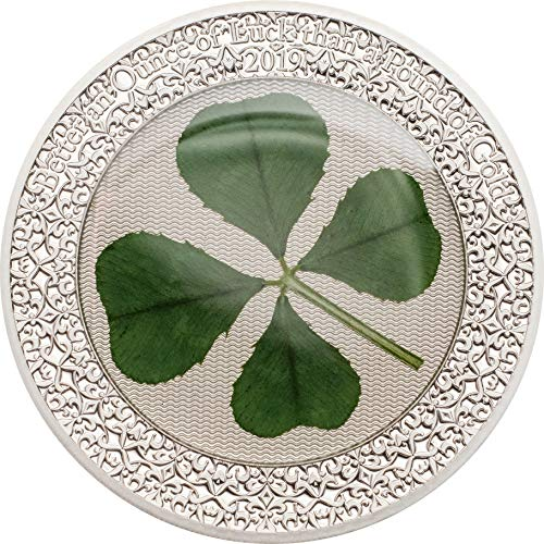 er an Ounce of Luck than a Pound of Gold - Real Four-leaf Clover 1oz Silver Coin $5 Perfect Uncirculated ()