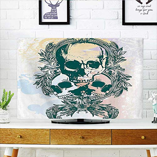 (Leighhome Cover for Wall Mount tv Rocker Furious Skeleton Head Trio with Frames from Leaves Black and White Cover Mount tv W35 x H55 INCH/TV 60
