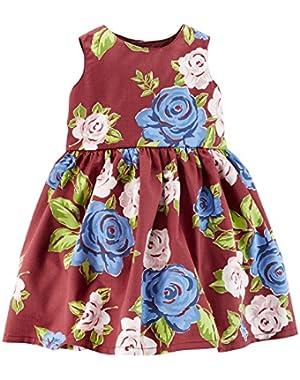 Baby Girls-Floral Sateen Dress