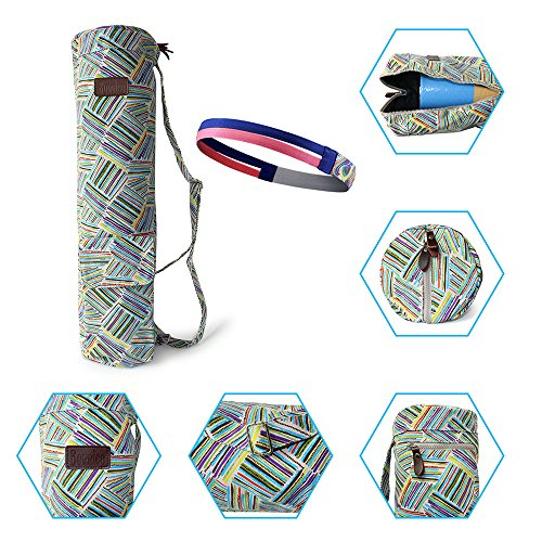 "Bonniee Full-Zip Exercise Yoga Mat Bag(27"" L x 7"" D) with 2 Cargo Pockets (Color line)"