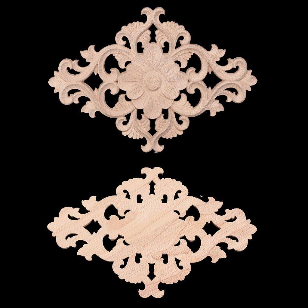 Madera Tallada no Pintada Vintage Floral de Madera esculpida en Esquinas encuadernadas de Madera Tallada para Pared Decorativa Puerta Angelliu Armario