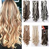 "8PCS 24-26 inches Highlight Straight Wavy Curly Full Head Clip in Hair Extensions 18Clips Women Lady Hairpiece (24""-Curly, Sandy Blonde & Bleach Blonde)"