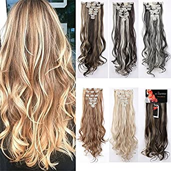 Amazon 8pcs 24 26 inches highlight straight wavy curly full 8pcs 24 26 inches highlight straight wavy curly full head clip in hair extensions 18clips women lady hairpiece pmusecretfo Choice Image