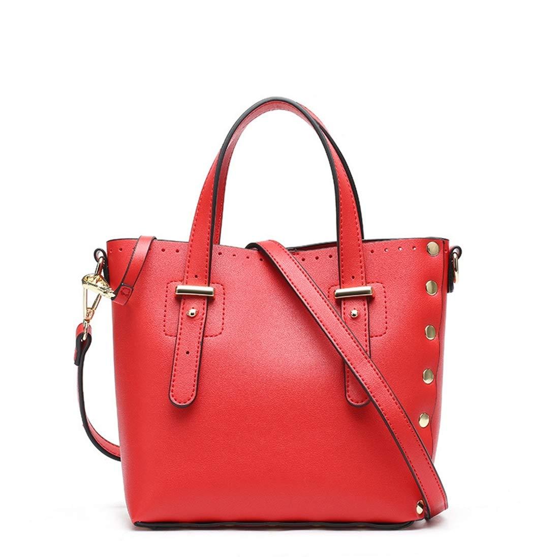 Big Bag Women Fashion Bag Simple PU Waterproof Portable Shoulder Bag Oblique Shoulder Bag Color : Red