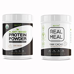 Pure Food Real Meal Replacement Powder + Raw Cacao Protein Powder | Plant-Based, Vegan, Superfood with Probiotics