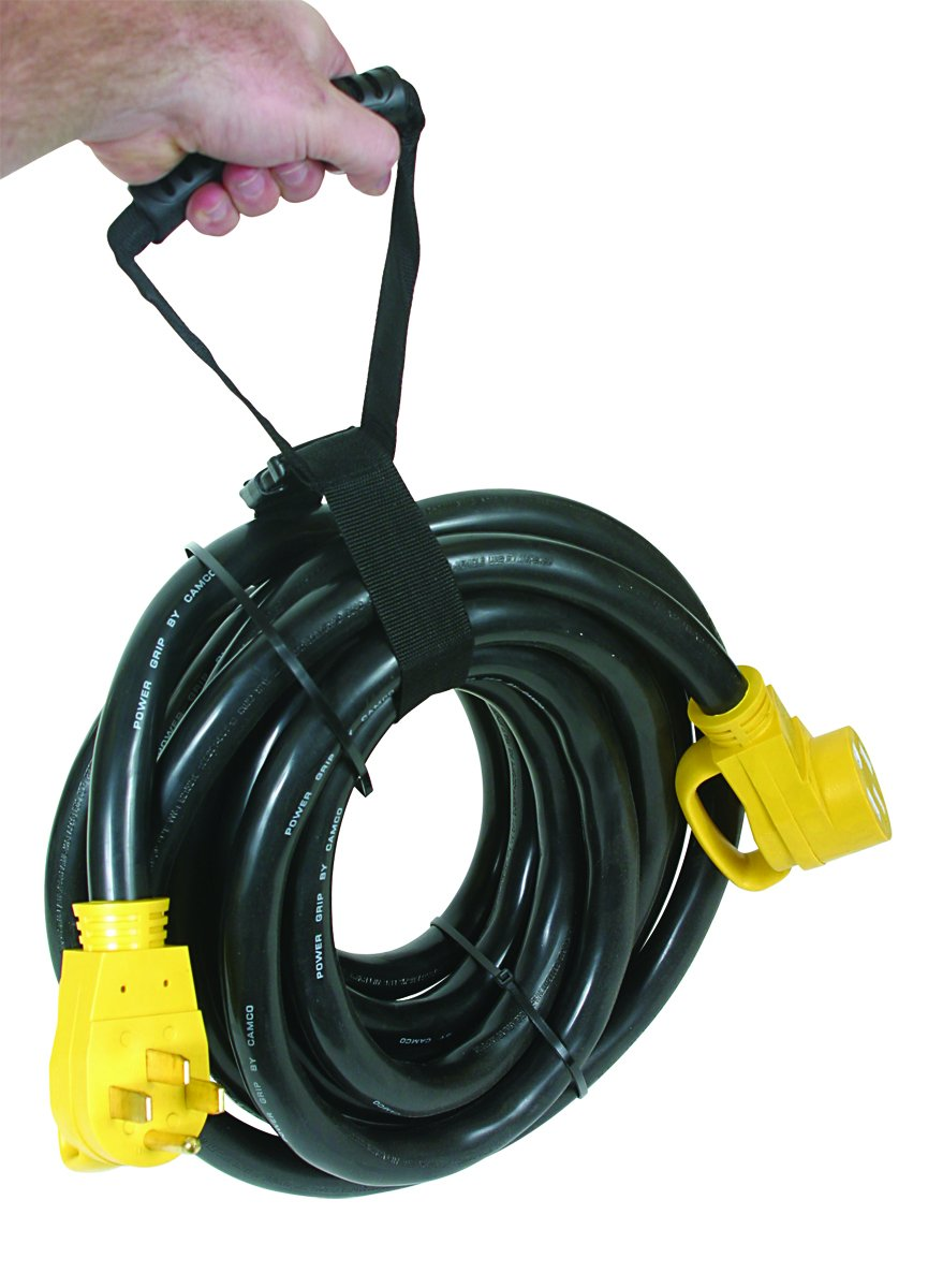 Camco 50 Amp RV Extension Cord with PowerGrip Handle, 6/8-Gauge, Includes Convenient Carrying Strap - 30ft by Camco (Image #2)