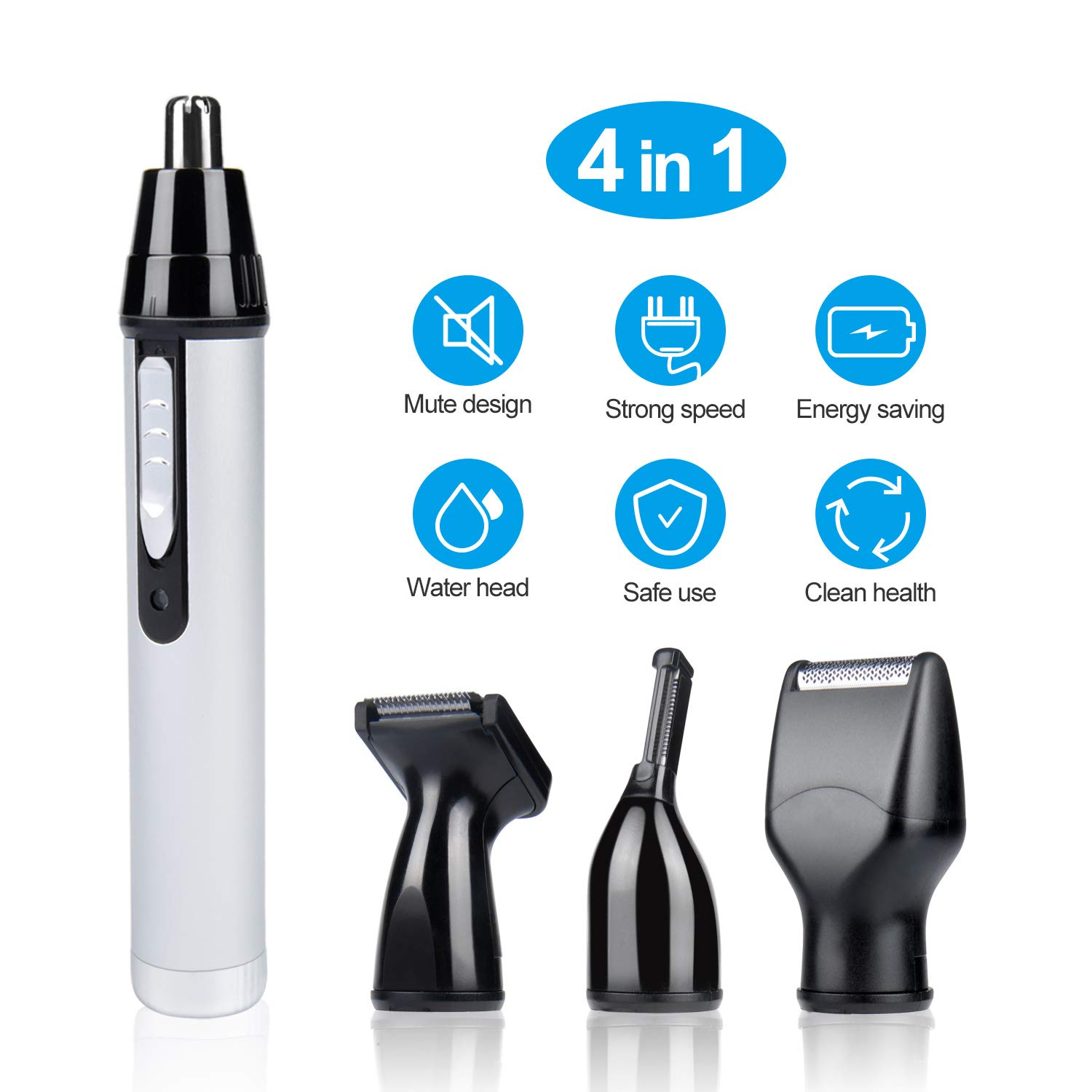 Ear and Nose Hair Trimmer for Men, Vibeey Waterproof 4 in 1 Professional USB Rechargeable Beard Trimmer, Electric Hair Clipper for Men Women