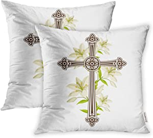 Emvency Pack of 2 Throw Pillow Covers Print Polyester Zippered Pillowcase Silhouette of Ornate with Lilies Happy Easter Symbols Faith 16x16 Square Decor for Home Bed Couch Sofa