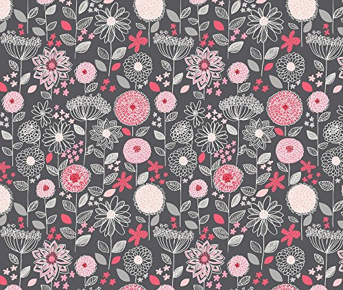 Flowers Fabric Flowers A Fantasy Gray by Stacyiesthsu Printed on Minky Fabric by the Yard by Spoonflower Flowers Designer Fabric
