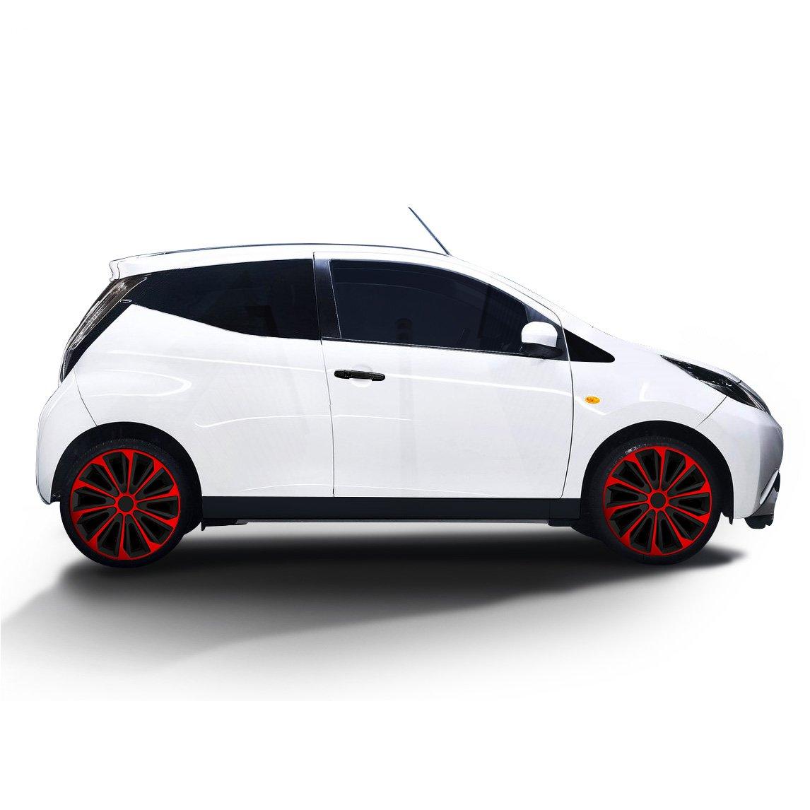 (tamaño a elegir) Tapacubos/Tapacubos Strong bicolor (Negro de color rojo) apto para casi todos los tipos de vehículos (universal): Amazon.es: Coche y moto