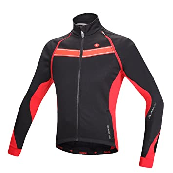 Santic Men s Long Sleeve Thermal Windproof Cycling Biking Winter Jacket  Medium Red 5385b137e