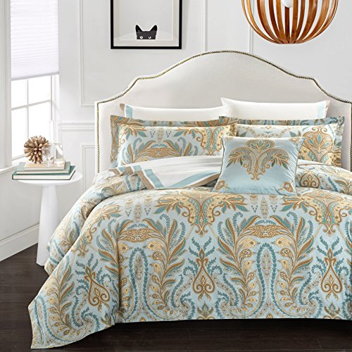 Casabolaj Corna Collection Luxury Duvet Cover Set 3 Pieces Blue Boho Paisley Printed 100% Egyptian Cotton Sateen 400 Thread Count Hawaiian Mediterranean Button Closure and Corner Ties (Queen)