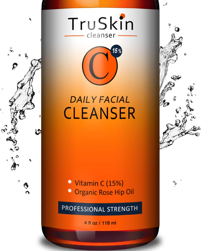 BEST Vitamin C Daily Facial Cleanser - Restorative Anti-Aging Face Wash for All Skin Types with 15% Vitamin C, Aloe Vera, MSM & Rosehip Oil by TruSkin Naturals