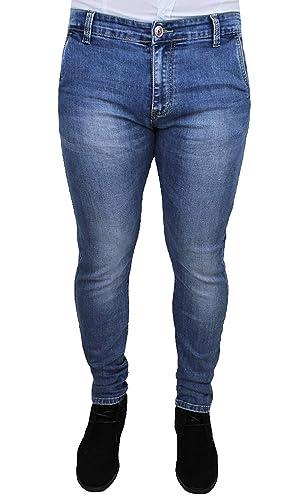 Jeans Uomo Vita Bassa Denim Casual Slim fit Elastico Chiaro Pantalone 5 Tasche