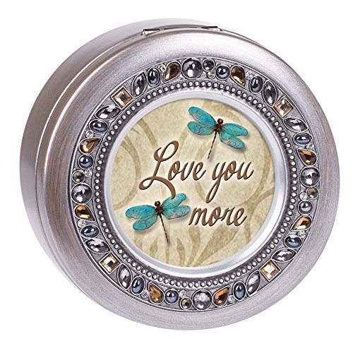 Cottage Garden Love You More Dragonfly Jeweled Pewter Colored Round Music Box Plays What a Wonderful - Box Music Pewter
