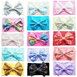 15PCS Baby Nylon Headbands Hairbands 5Inch Sequin Hair Bows Elastics Hair Accessories for Baby Girls Newborns Toddlers Kids Children (Color: Multicoloured, Tamaño: Large)