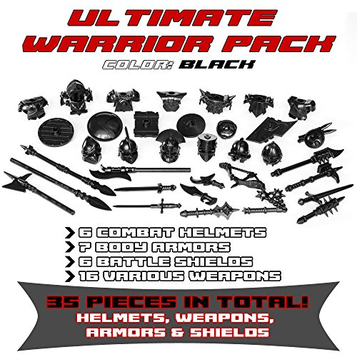 Ultimate Warrior Pack Weapon 35 Pcs: Helmets, Armors, Shields, Swords, Mace, War Hammer, Spears, Halberd and more weapons for Custom Toy Bricks Minifigures (Black)
