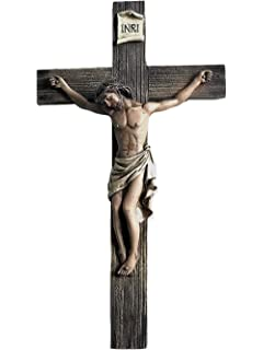 amazon com jesus nailed on the cross resin wall crucifix 14 inch