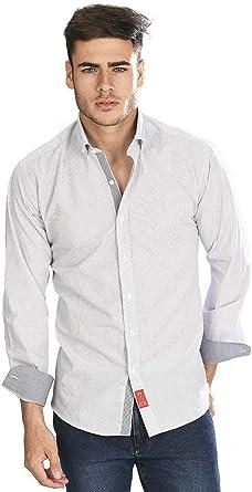 Camisa Manga Larga semientallada Blanca con Cuadros clásicos de Color Negro para Hombre: Amazon.es: Ropa y accesorios