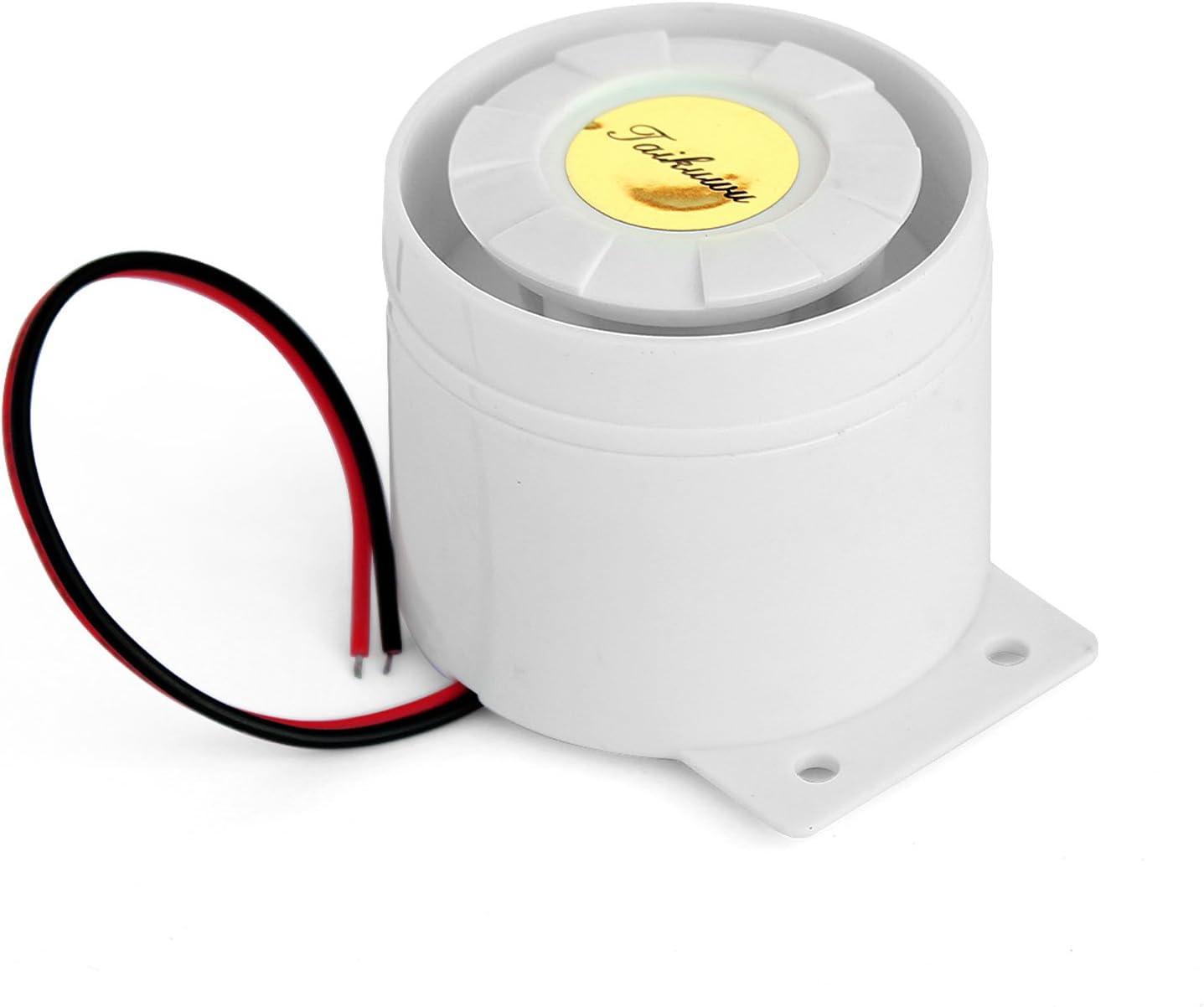 Taikuwu Mini sirena con cable para la oficina en casa, tienda de garaje, sistema de alarma de seguridad, kit GSM sistema de seguridad de alarma, cuerno sirena 120 dB 12 V (blanco)