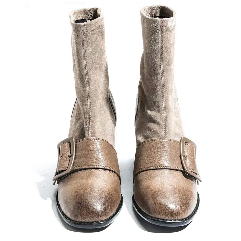 YZ-schuhe Retro Wind Martin Stiefel Frauen Stiefelies In Der Ferse Square Head Elastische Stiefel Leder England Chelsea Stiefel