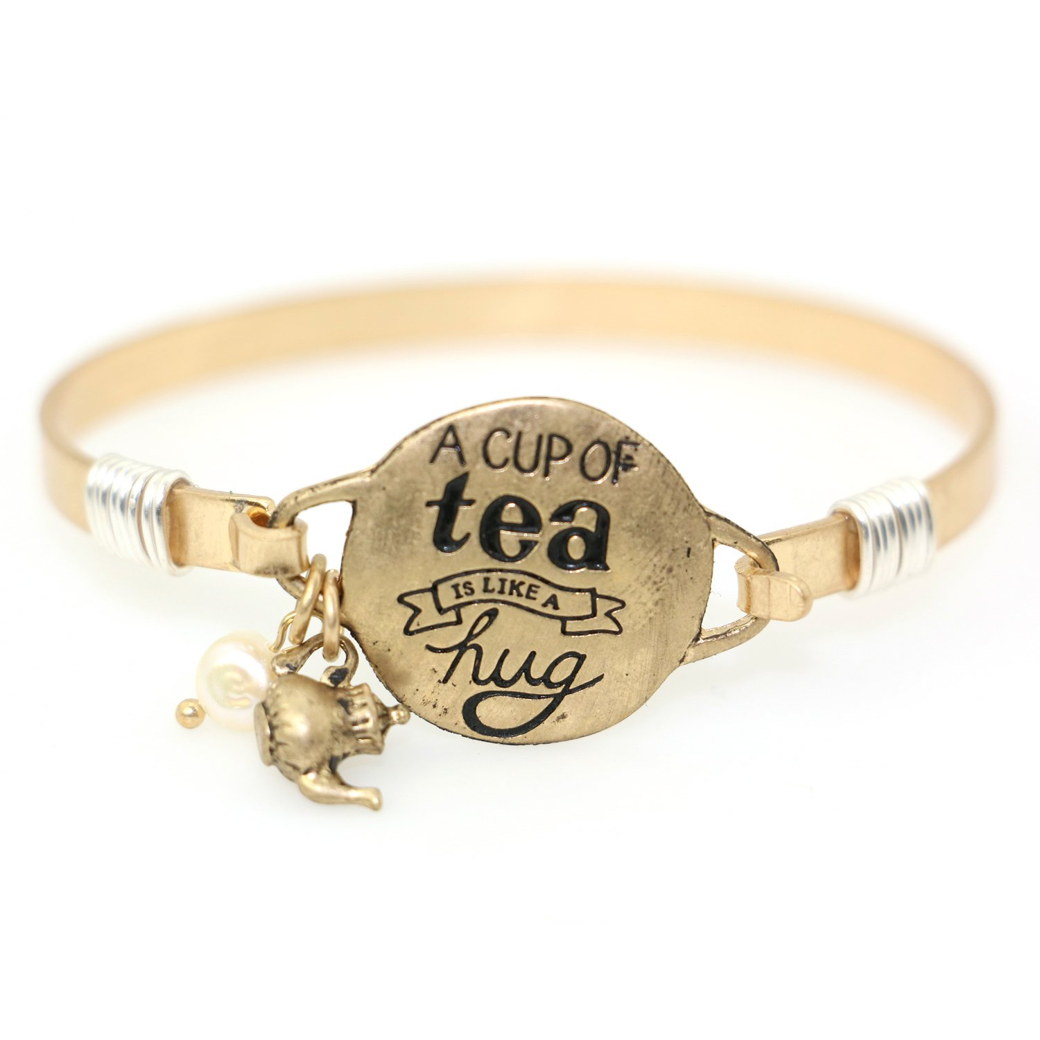 """A Cup of Tea is Like a Hug"" Handmade Beautiful Bangle Bracelet with Wire Design and Cute Teapot Charm and Bead"
