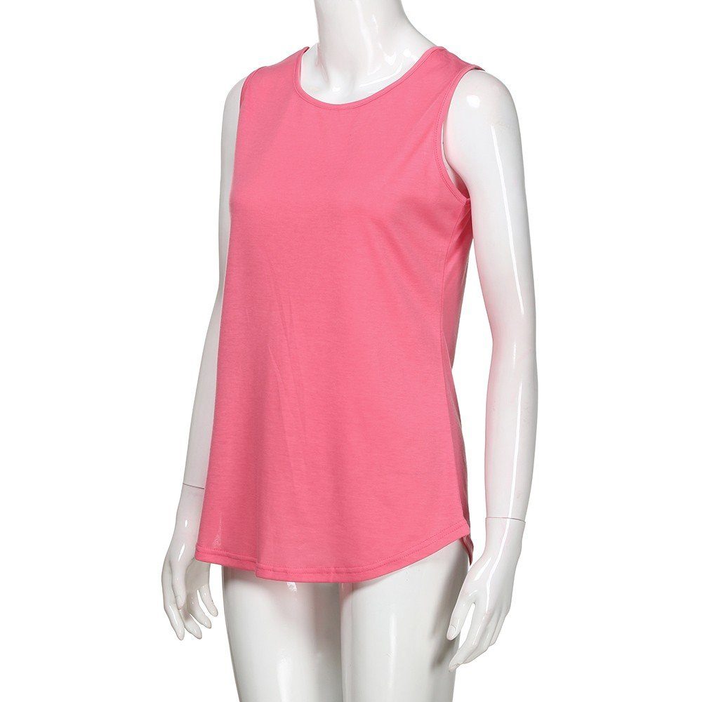 Solid Color Vest for Women, Gogoodgo Ladies Loose O Neck Swing Hem Tank Top Soft Fabric Sleeveless Classic Tops Pink by Gogoodgo vest (Image #6)