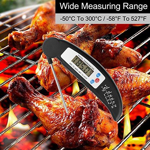 Termómetro del alimento, Ascher Cocina termómetro / LCD Digital termómetros domésticos / cocina Termómetro digital con sonda para cocinar, barbacoa, carne, ...