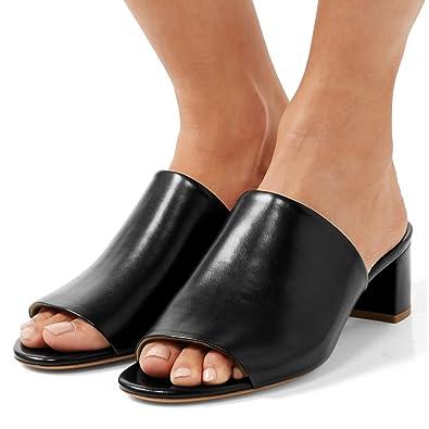 d411432e390 Amazon.com | FSJ Women Casual Open Toe Mules Chunky Low Heels ...