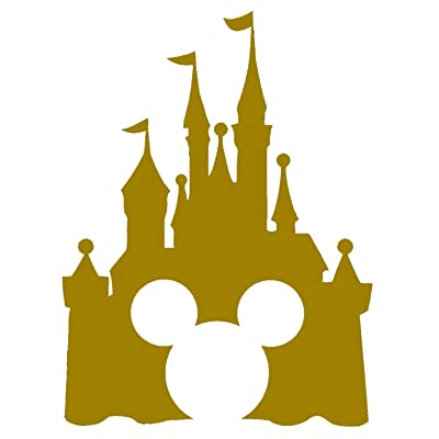 """Disney Style Castle with Mickey Inspired Vinyl Car Window Decal Sticker (6"""", Gold): Automotive"""