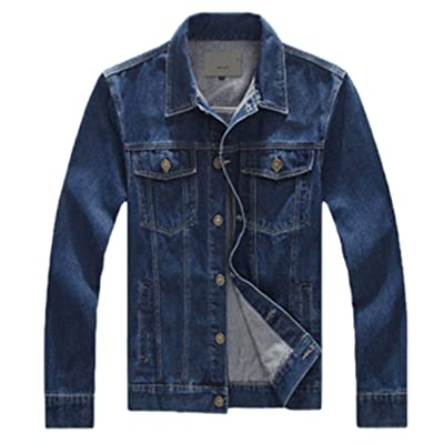 Handsome Men Denim Jacket Fit Turn-Down Collar Men Jacket Suitable Four Seasons