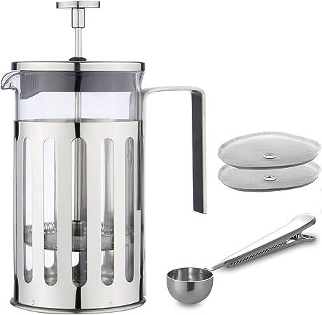 MW Creations Cafetera de émbolo con marco, mango y tapa en acero inoxidable, Prensa Francés 5 taza /600 ml: Amazon.es: Hogar