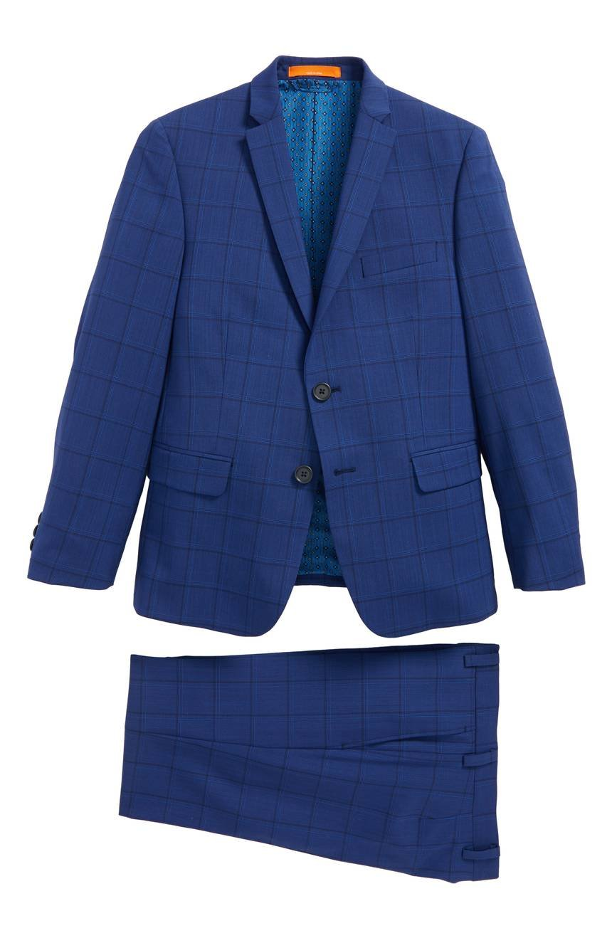 Tallia Boys Skinny Fit Windowpane Wool Suit 18